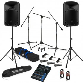 Live Sound System Package with 2 Behringer EUROLIVE B110D Powered Speakers and Yamaha MG12XU Mixer