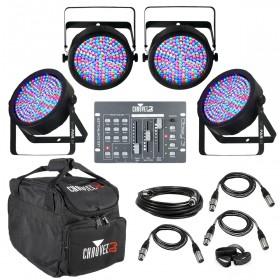 CHAUVET DJ Lighting Package with 4 SlimPAR 64 PAR Cans and Obey 3 Controller
