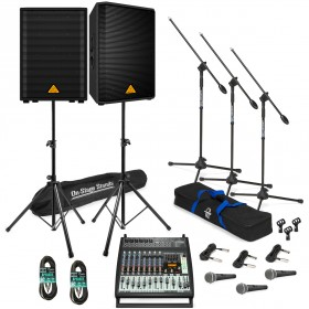 Live Sound System Package with 2 Behringer EUROLIVE VP1220 Speakers and EUROPOWER PMP500 Powered Mixer