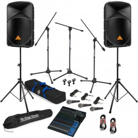 Live Sound System Package with 2 Behringer EUROLIVE B112D Powered Speakers and Yamaha MG16XU Mixer