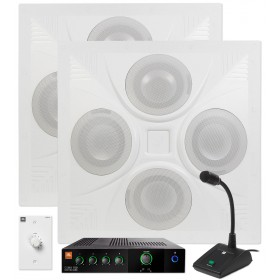 Restaurant Sound System with 2 Ceiling Speakers JBL Mixer Amplifier and Paging Microphone