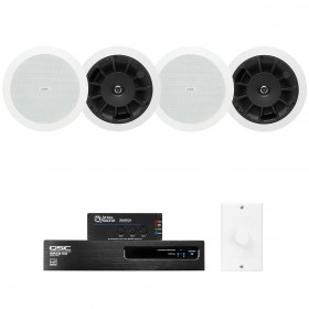 Restaurant Sound System with 4 QSC AcousticDesign In-Ceiling Speakers Power Amplifier and Atlas Sound Mixer