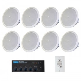 Restaurant Sound System with 8 Atlas Sound FAP42T In-Ceiling Speakers and Mixer Amplifier