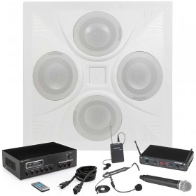 Classroom and Conference Room Sound System with a Ceiling Speaker Array MA30BT Bluetooth Mixer Amplifier and Wireless Microphone System