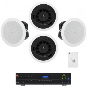 Retail Sound System with 4 QSC AcousticDesign In-Ceiling Speakers and Bluetooth-Enabled Mixer Amplifier