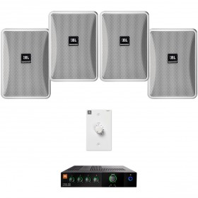 Retail Store Sound System with 4 JBL Control 23-1 Wall Mount Loudspeakers and Mixer Amplifier