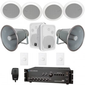 Travel Center and Food Court Multi-Zone Indoor Outdoor Sound System with 6 Speakers, 2 Paging Horns and Push-to-Talk Paging Microphone