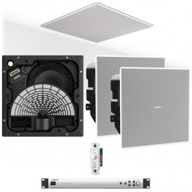 Retail Store Sound System with 4 Bose EdgeMax EM180 Premium In-Ceiling Loudspeakers and Bose IZA 2120-HZ 2-Zone Amplifier