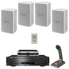 Yamaha Small Retail Store Sound System with 4 VS4 Wall Mount Speakers MA2030a Mixer Amplifier and CD-C600 CD Player