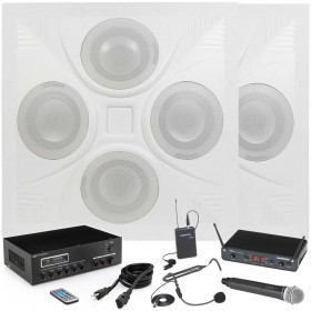 Classroom and Conference Room Sound System with 2 Ceiling Speaker Arrays MA30BT Bluetooth Mixer Amplifier and Wireless Microphone System